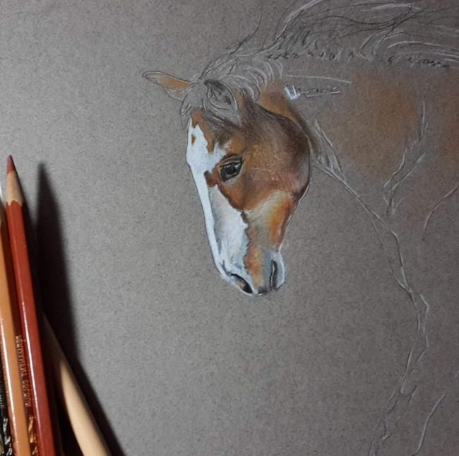 Denise Milledge at work on an equine portrait